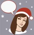 santa brunette girl vector image vector image