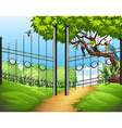Scene with metal fence and birds on tree vector image