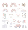set cartoon childhood symbols and icons