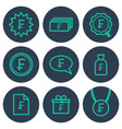 set of icons about money with frank symbols vector image vector image