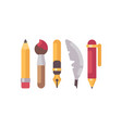 Set of writing and drawing tools flat icons