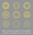 set sunburst rays sun in trendy yellow vector image