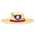 straw hat with pirate eye patch vector image