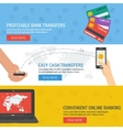 Three banners - online banking vector image vector image