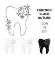 tooth with diamond icon in cartoon style isolated vector image vector image