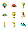trophy icons set cartoon style vector image