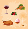 turkey dinner of thanksgiving with set icons vector image vector image
