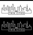 twin cities skyline linear style editable file vector image vector image