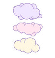 unicorn cloud set with space for text cute clouds vector image