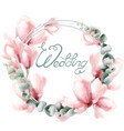 wedding wreath with pink flowers watercolor vector image vector image