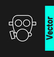 white line gas mask icon isolated on black vector image vector image