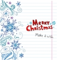Winter Doodles with snowflakes Christmas card vector image vector image