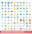 100 internet of things icons set cartoon style vector image vector image