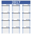 2017 calendar week starts on Sunday 12 months set vector image vector image