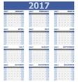 2017 calendar week starts on Sunday 12 months set vector image