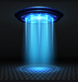 aliens futuristic spaceship ufo with blue lights vector image vector image