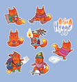 animal set stickers with fox vector image vector image