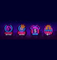betting collection logos in neon style set neon vector image