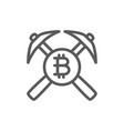 bitcoin coin and pickaxes blockchain vector image vector image
