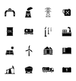 black industry icons set vector image vector image
