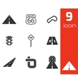 black road icons set vector image vector image