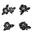 Black silhouette of rose with leaves vector image vector image