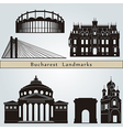 Bucharest landmarks and monuments vector image vector image