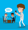 businessmen with smartphone in the hand vector image vector image