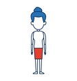 cartoon woman adult standing with bun blue hair vector image