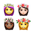 characters girls avatars with flower on head in vector image