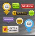 colorful website extra bonus buttons design vector image