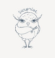 cute cartoon owl lovely owlet in doodle style vector image vector image