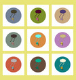 Flat icons set of measure diameter of hail concept