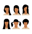 girls hairstyles and haircut with face vector image