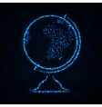 Globe silhouette of lights on dark background vector image vector image