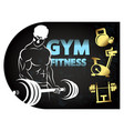 gym and fitness athlete with a barbell vector image