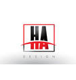 ha h a logo letters with red and black colors vector image vector image