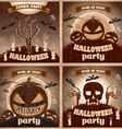 Halloween Posters set night holiday vector image