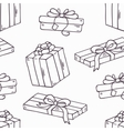 Hand drawn gift box outline seamless pattern in vector image vector image