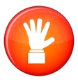 Hand showing five fingers icon flat style vector image vector image