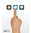 hand touching weather icons screen vector image vector image