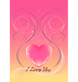 Hearts decorated with iridescent curved lines vector image