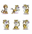 Image of Running Cute Baby Tiger Collection vector image vector image