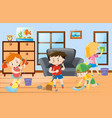kids doing chores at home vector image