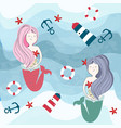 mermaid and summer and ocean items under water vector image
