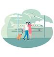 people in airport walking along big glass window vector image
