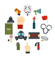 protest icons set in flat style vector image vector image