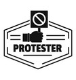 protester logo simple black style vector image vector image