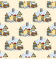 seamless pattern with cartoon houses in vector image vector image