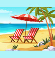 seaside vacation flat vector image vector image